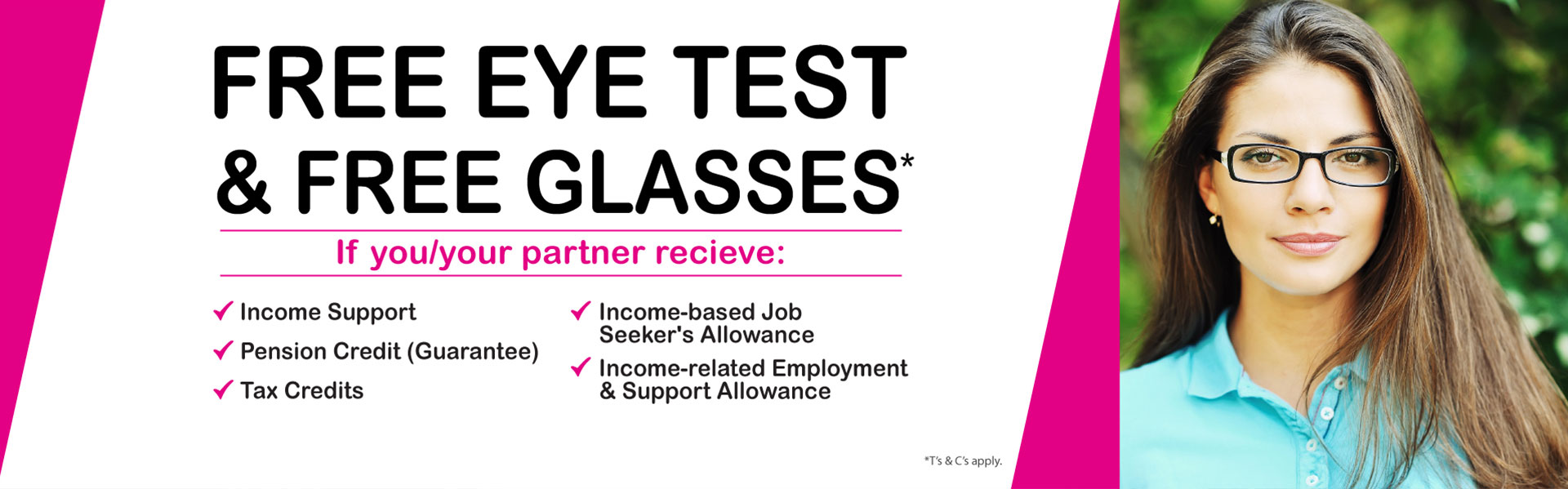 free eye test and free glasses banner